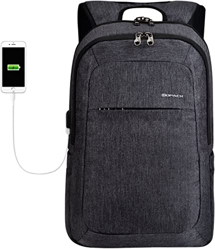Kopack Business Laptop Backpack with USB Charging Port Anti-Theft Travel bag Computer Backpack Bag Water Resistant 15.6 inch Grey (Black Grey2) product image