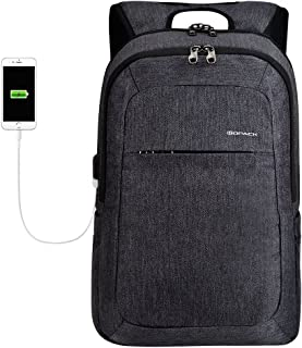 Kopack Business Laptop Backpack with USB Charging Port Anti-Theft Travel bag Computer Backpack Bag Water Resistant 15.6 inch Grey (Black Grey2)