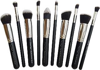 Dream Maker 10 Piece Makeup Brush Set Without Pouch (Black+ Silver)