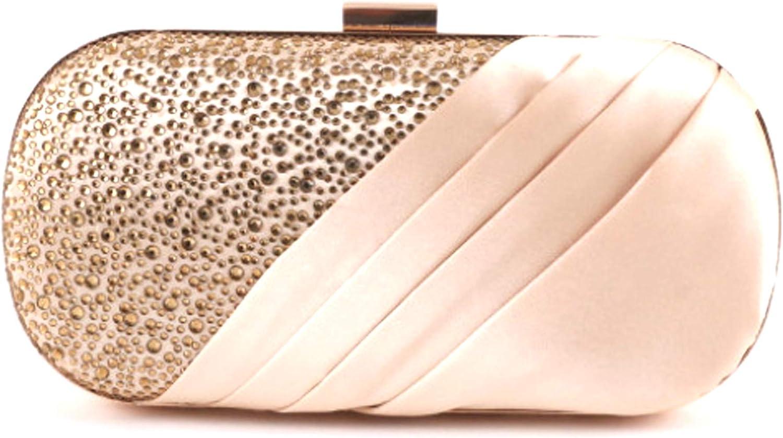 EleganceWithFlair Blush Satin Rhinestone Wedding Evening Bag
