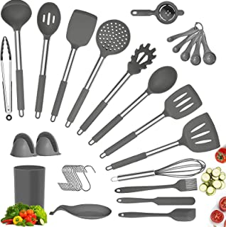 34 PCS Silicone Cooking Utensil Set, DAVAD Upgrade Kitchen Utensils Set with Holder, 608°F Heat Resistant Non-stick BPA Fr...