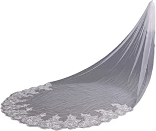 Babyonline Elegant Lace Edge Sequins Cathedral Length Long Bridal Wedding Bridal Veil+Comb