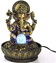 Ez Life Fengshui Water Fountains - Ganesha Blessings With Led Light And Crystal Ball And Electric Motor - Gold And Bronze Color - Resin