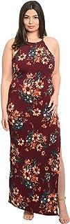 Women's Burgundy Wine Plus Size Floral Stretch Tank Maxi Dress