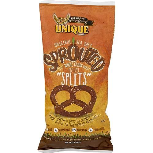 Unique Sprouted 100% Whole Grain Pretzel Splits (Pack of Four - 8 Oz. Bags)