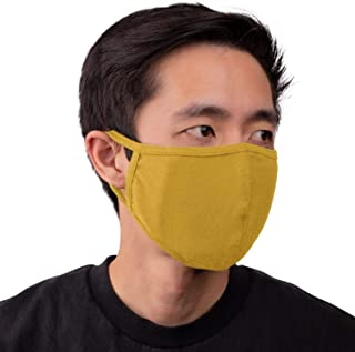 Aulin� Collection Made in USA Cotton Fabric Washable Reusable Filter Pocket Face Mask, Mustard 1 PK