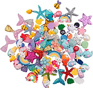URlighting Slime Charms (100 Pieces) Mixed Mermaid Tail and Rainbow Animals Resin Flatback Slime Beads for Kids and Adults...
