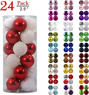 GameXcel Christmas Balls Ornaments for Xmas Tree - Shatterproof Christmas Tree Decorations Large Hanging Ball Red & White 2.5