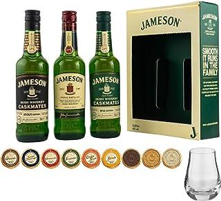 Jameson irischer Whiskey 3 Flaschen je 200ml  1 Spey Dram Whisky Glas  9 Edelschokoladen in 9 Sorten