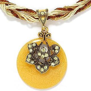 Campsis Boho Natural Rhinestone Quartz Stone Necklace Purple Flower Round Necklaces Adjustable Faux Leather Cords Choker J...