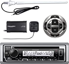"""Kenwood KMR-D368BT MP3/USB/AUX Marine Boat Yacht Stereo Receiver CD Player Bundle Combo with KCARC35MR Wired Remote Control + SiriusXM Radio Tuner + Enrock Outdoor Rubber Mast 45"""" Antenna"""