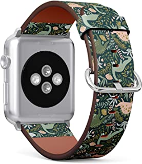 Compatible with Apple Watch 42mm & 44mm Leather Watch Wrist Band Strap Bracelet with Stainless Steel Clasp and Adapters (Dinosaurs)