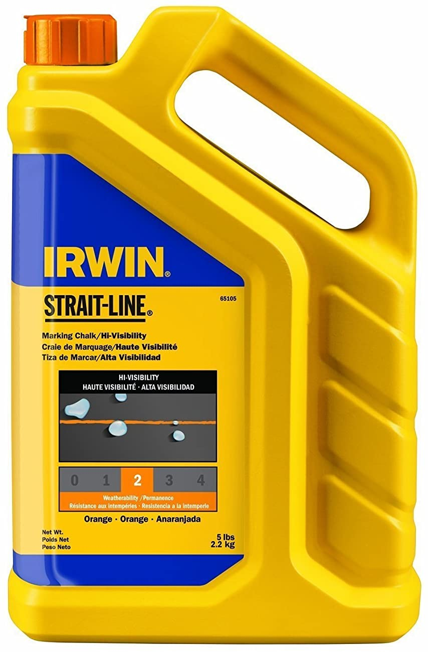 2 Pack Irwin 65105 Strait-Line 5lb Hi-Visibility Marking Chalk - Fluorescent Orange