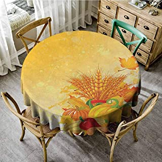 ScottDecor Table Cover Harvest Vivid Festive Collection of Vegetables Plump Pumpkins Wheat Fall Leaves Earth Yellow Green Red Garden Round Tablecloth Diameter 70