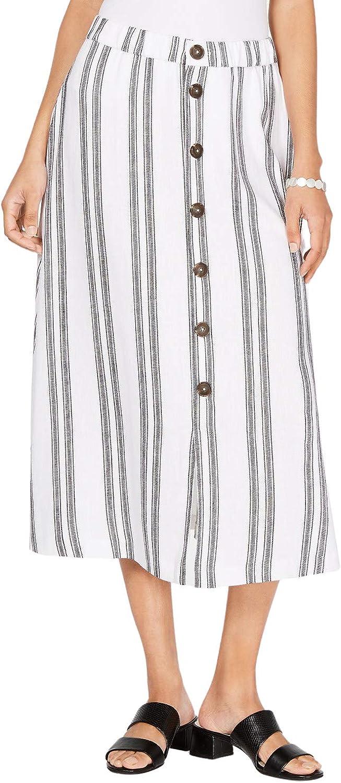 Alfani Women's A-line Midi Vertical Stripe Button-Front Elastic Waistband Skirt