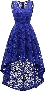 DRESSTELLS Women's Homecoming Dress V-Neck Floral Lace Hi-Lo Cocktail Party Dress