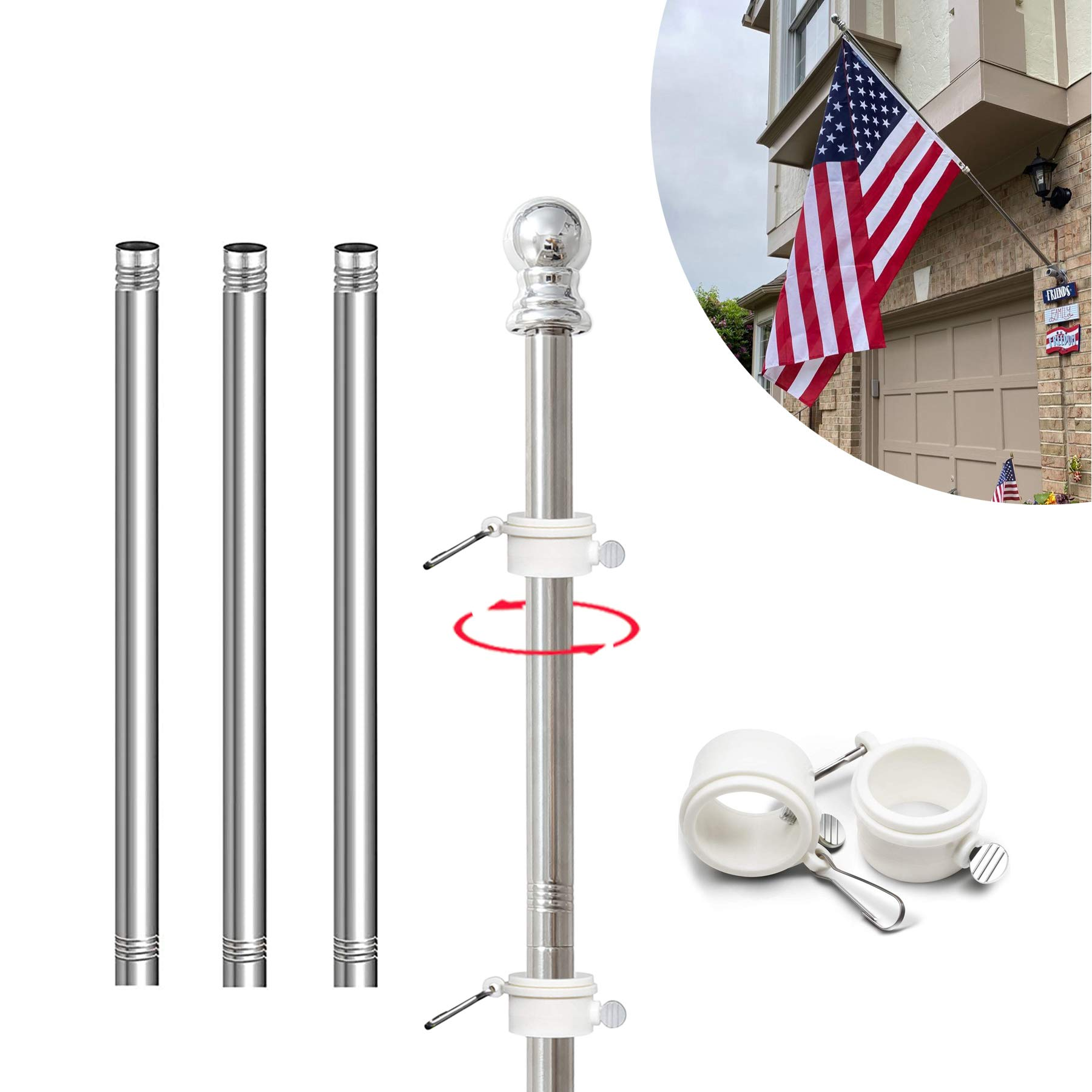 6FT Flag Pole 1 Inch Diameter Flag Pole for Flag Hanging Windproof Rustproof New