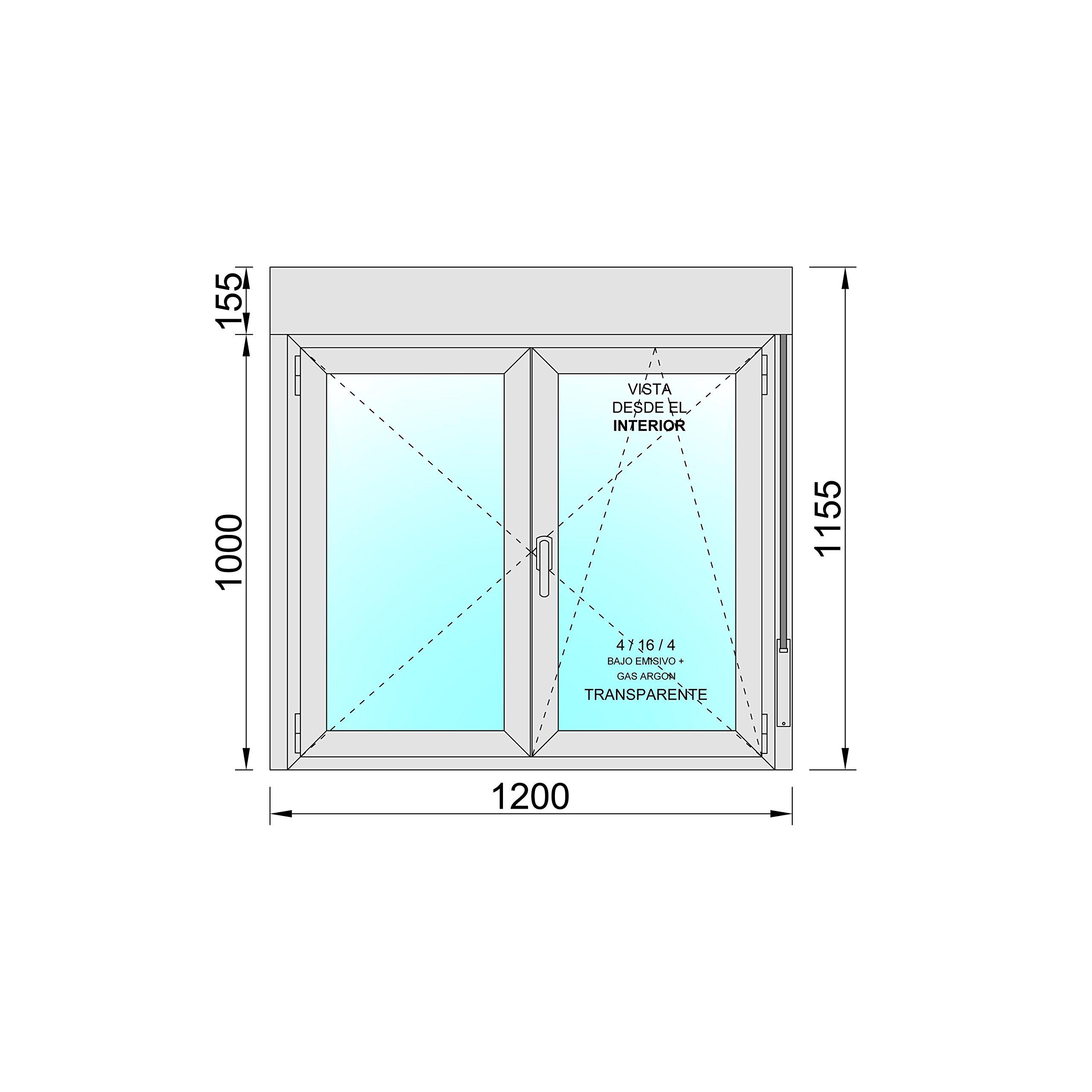 Ventana PVC Practicable Oscilobatiente 2 hojas con Persiana (PVC ...