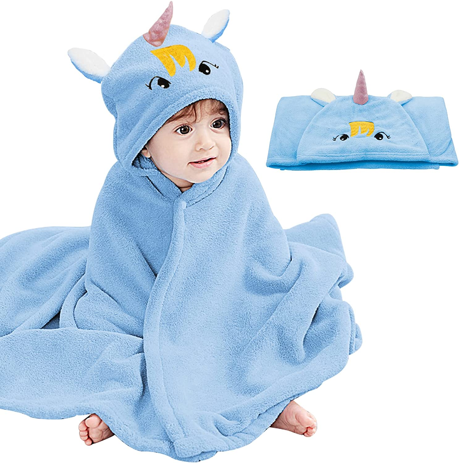 Baby Hooded Bath Towel Unicorn Design Ultra Soft Towel Highly Absorbent Bathrobe Blanket Toddlers Shower Gifts for Boys Girls-Extra Large 28