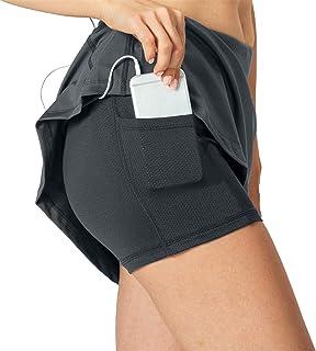 KISSOURBABY Women's Running Skort, Lightweight Active Skirts with Shorts Pockets Tennis Golf Workout Sports