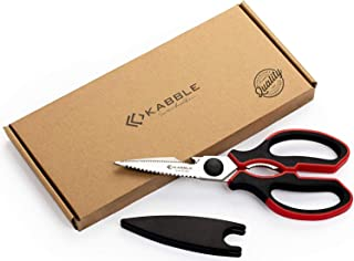 KABBLE Premium Heavy Duty Kitchen Shears, Multifunction Kitchen Scissors, Latest and Smart Designed, As Sharp As Any Knife, Black-Red