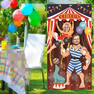 Circus Party Decoration, Photo Door Banner Backdrop Props for Party Deco Game Supplies Large Fabric Photo Door Banner - 6x3 ft