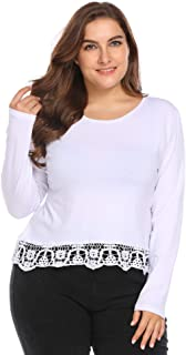 VPICUO Womens Plus Size Long Sleeve Patchwork Lace Trim Casual T Shirts Loose Tops