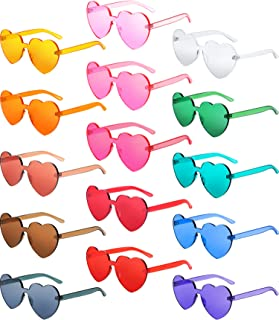 Heart Shaped Love Rimless Sunglasses One Piece Transparent Candy Color Frameless Glasses Tinted Eyewear Thick Slices