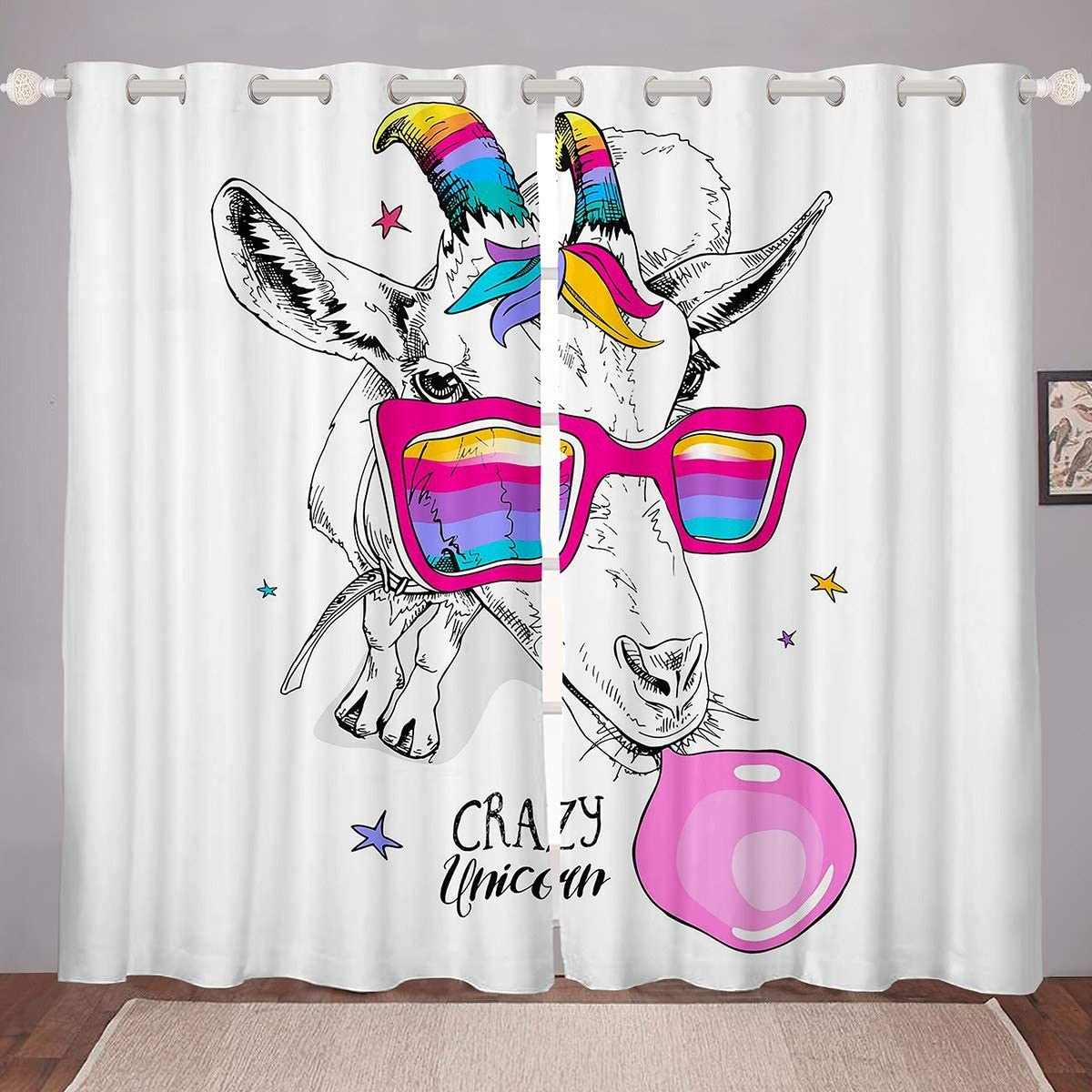 Feelyou Kids Cute Curtains for Bedroom Living Cartoon Manufacturer regenerated product Room Charlotte Mall Llama