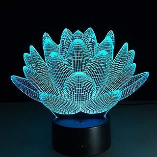 Lotus Floral 3D coloré veilleuse de noël 7 Couleurs changeantes Lampe de Table à Distance Tactile stéréoscopique Illusion ...