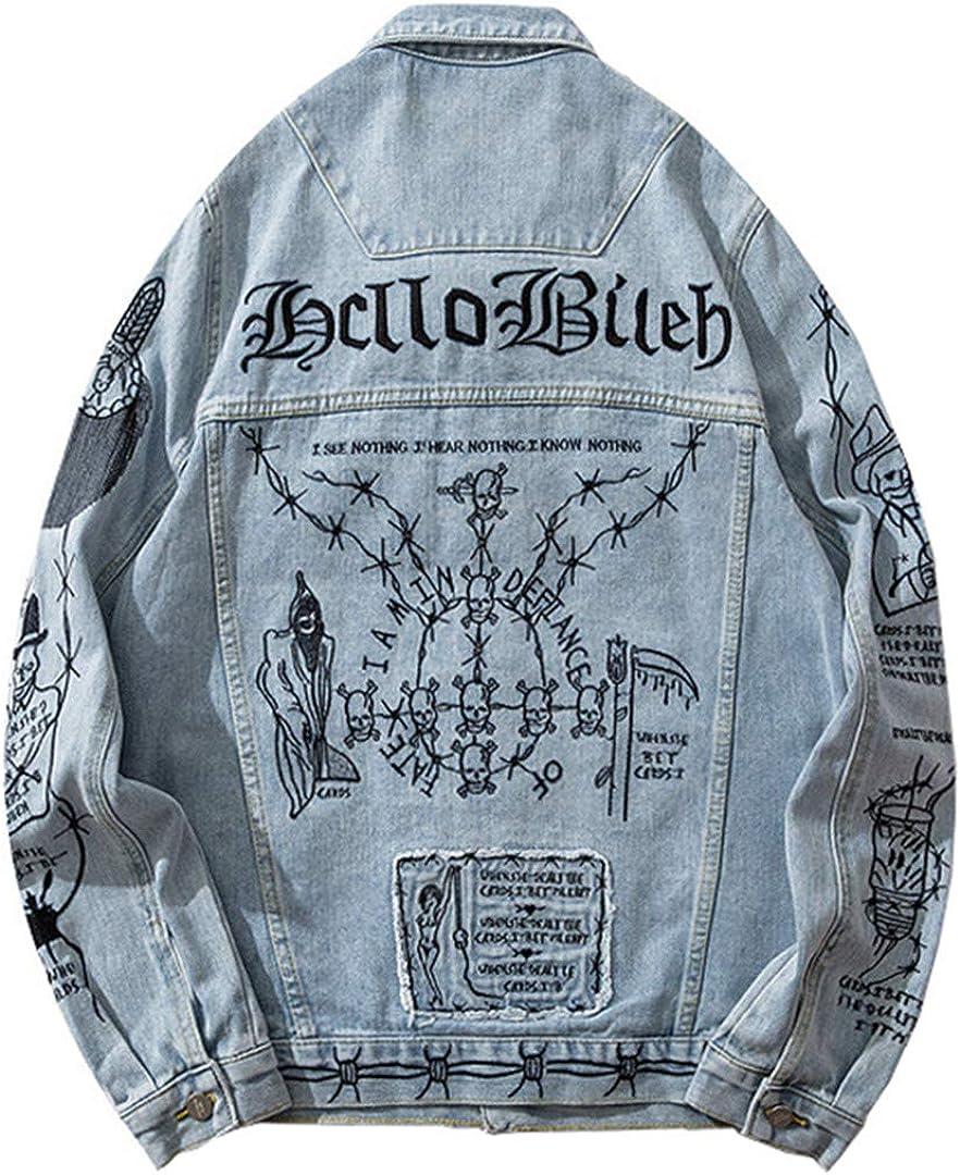 Har&Jensilln Men's Skull Pattern Embroidered Jean Jacket Loose Streetwear Patchwork Light Blue Denim Coat Outerwear