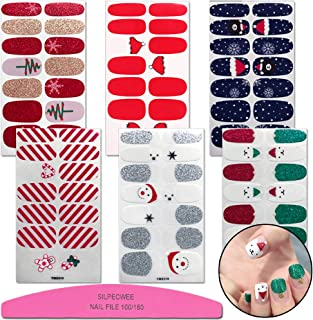 SILPECWEE 6 Sheets Adhesive Nail Art Polish Stickers Strips Set Christmas Tree Nail Wraps Decals Tips Manicure Decoration And 1Pc Nail File