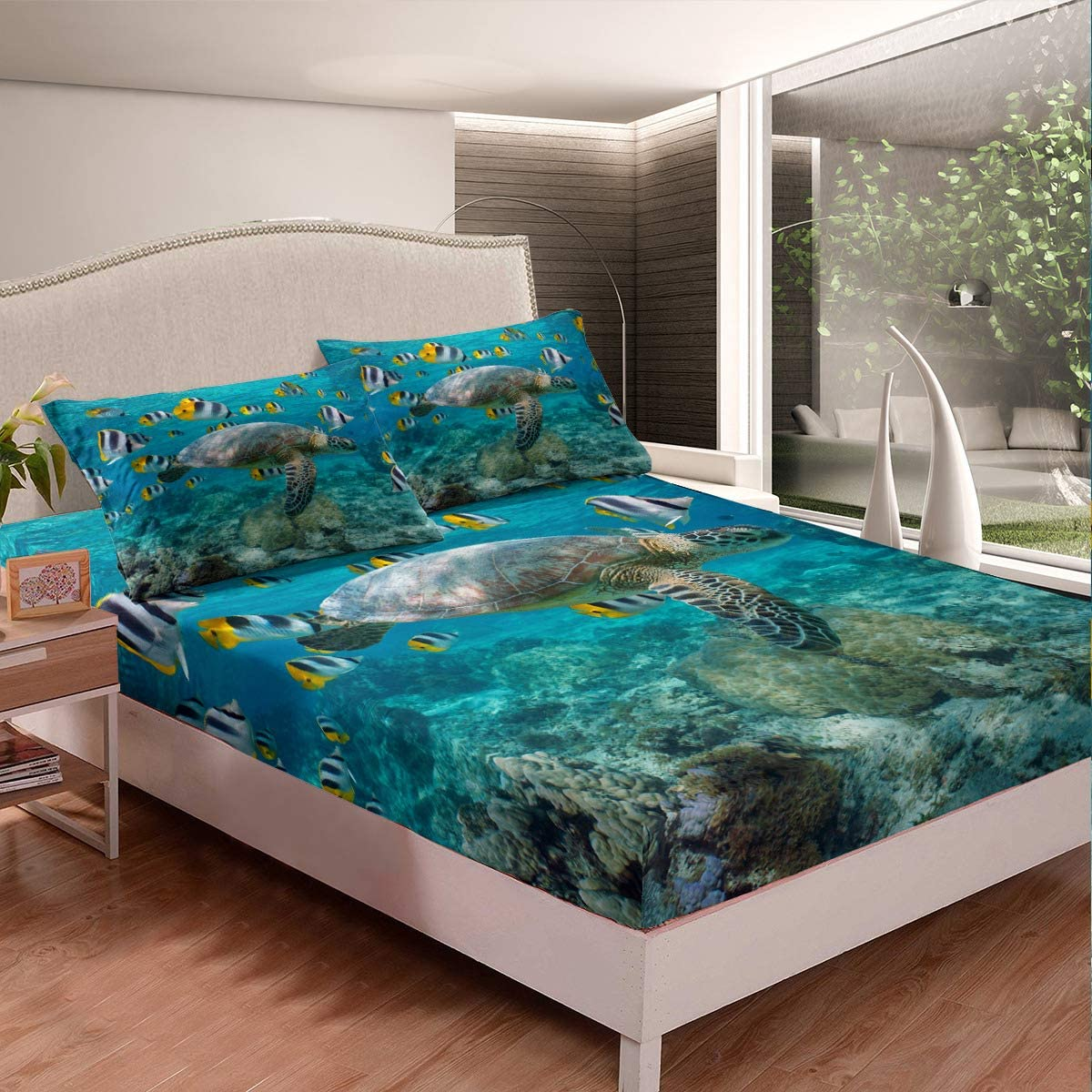 3D Sea Turtle Swimming Bed Max 55% OFF Sheet Underwater Opening large release sale Tur Vivid Fish World