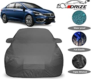 DRIZE™ Ciaz Car Cover Waterproof and Dustproof with Triple Stitched Fully Elastic Ultra Surface Body Protection (Grey Look)
