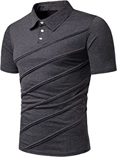 Halfword Men's Short Sleeve Polo Shirts with Solid Color Fold Splice Golf Tennis T-Shirt