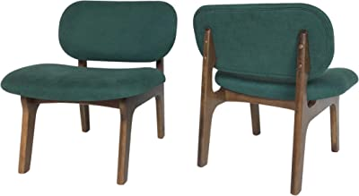 Christopher Knight Home Jacson Wooden Club Chair (Set of 2), Forest Green and Walnut Finish
