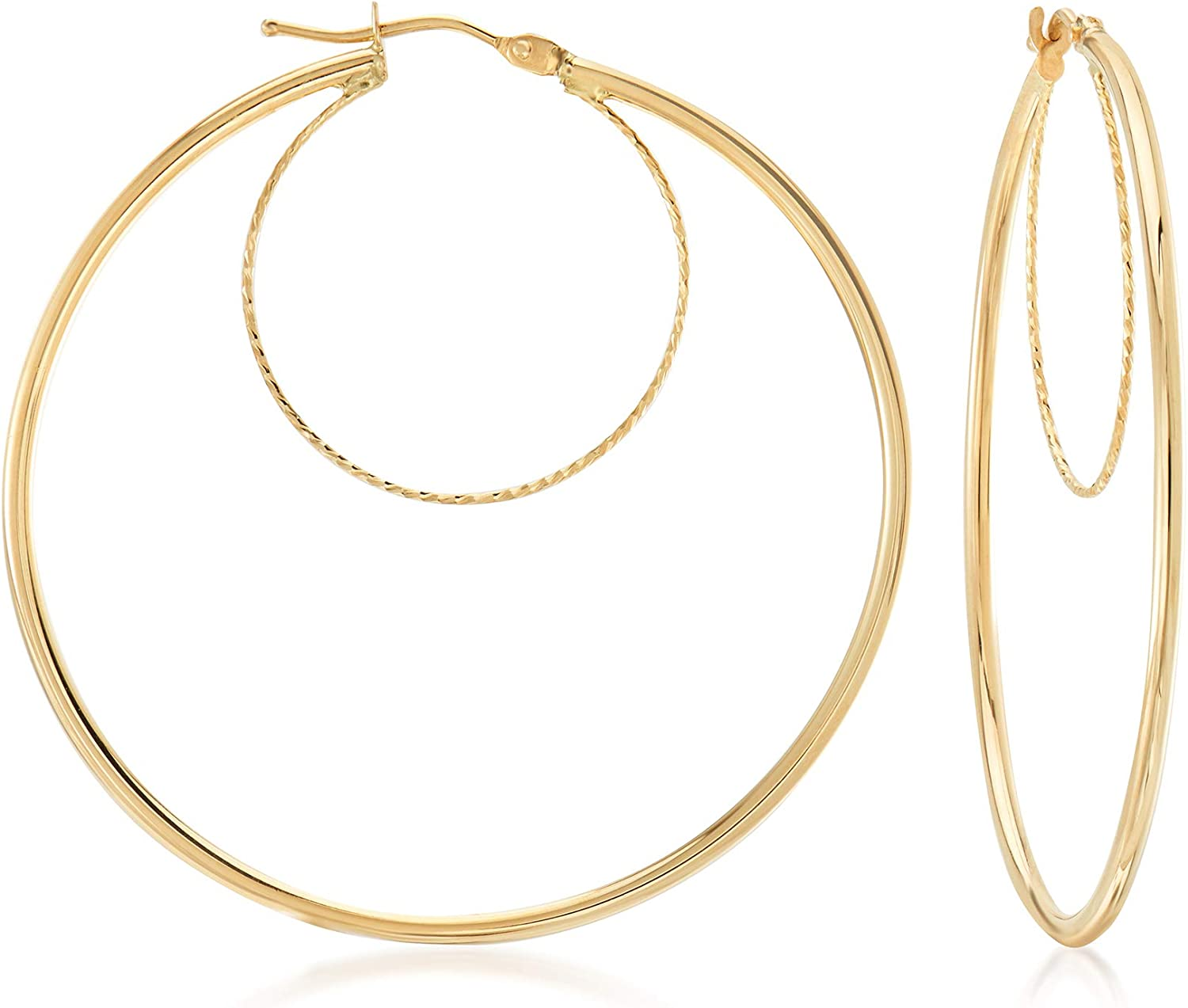 Ross-Simons Italian 14kt Yellow Gold Textured and Polished Double-Hoop Earrings