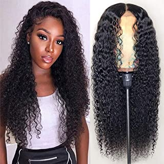 4x4 Kinky Curly Human Hair Wigs Kinky Curly Lace Front Closures Human Hair Wigs for Women 100% Brazilian Unprocessed Kinky Curly Lace Closures Human Hair Wigs(20inches)