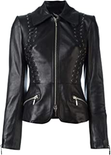 VearFit Starwine Eyelet Design Real Leather Jacket Women