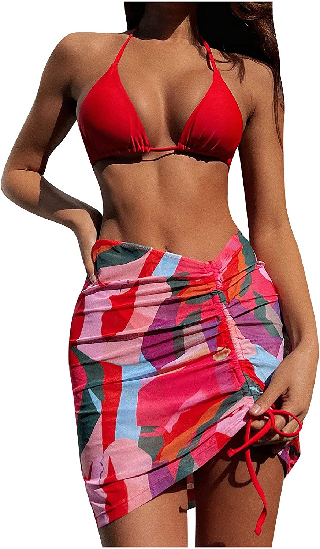 ZZCJ 3 Piece Womens High Waisted Bikini SwimsuitTummy Control Bathing Suits Deep V-Neck Lace-up Tankini Swimwear