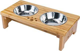 【天然素材】YOSHIKI良木工房 愛犬・愛猫の食生活を快適に~ 竹製 ペット用食器台 犬用 猫用 食器台 餌台 犬猫えさ入れ ごはん皿 水入れ フードボウルスタンドセット YK-PF1