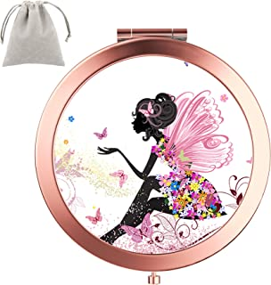 Dynippy Compact Mirror Round Rose Gold MakeUp Mirror Folding Mini Pocket Mirror Portable Hand Mirror Double-sided With 2 x 1x Magnification for Woman Mother kids Great Gift (Butterfly Girl)