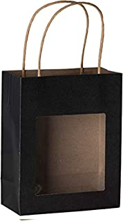 Hammont Black Kraft Paper Bag with Window (10 Pack) - Food Storing Pouches with Handles, Gift Bags with Transparent Window 7.75