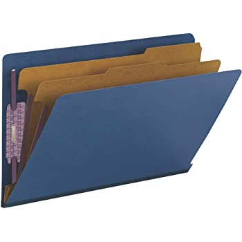 """Smead 100% Recycled End Tab Pressboard Classification File Folder with SafeSHIELD Fasteners, 2 Dividers, 2"""" Expansion, Legal Size, Dark Blue, 10 per Box (29784)"""