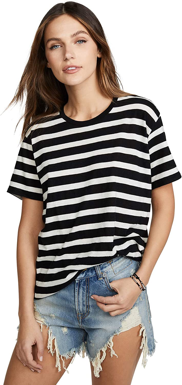 R13 Women's Phoenix Mall Boy Striped Tee White Stripe w Judy 2021 autumn and winter new Black