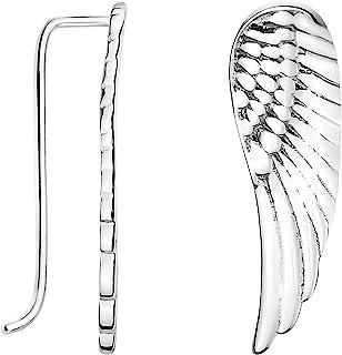 Pendientes Mujer Alas de Angel Plumas Plata de Ley 20709