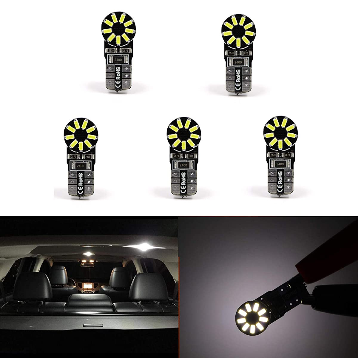 5PCS 168 2825 W5W T10 194 Dome Light CANBUS LED Bulb 6000K White High Power 3014 18SMD Super Bright
