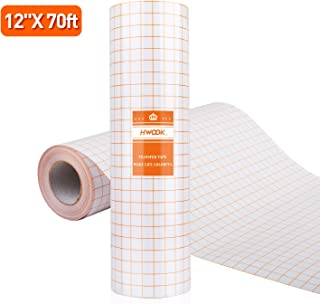 Clear Vinyl Transfer Paper Tape Roll-12 x 70 FT Alignment Grid Application Tape for of Cameo or Cricut Self Adhesive Vinyl for Decals, Signs, Walls, Windows and Other Smooth Surfaces