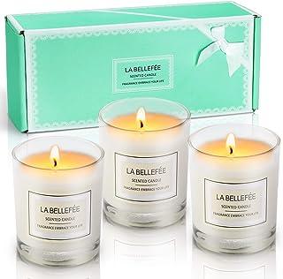 LA BELLEFÉE Bougies Parfumées de Cire de Soja Naturelle Parfum d'Ambiance Cadeau Parfait à Offrir pour Anniversaire Fêtes ...