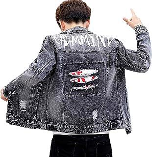 [エスアンドワイ] 2カラー ジージャン デニムジャケット バックプリント 韓国ファッション メンズ M~2XL